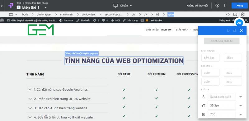 Sử dụng Google Optimize để chỉnh sửa các biến thể AB Testing
