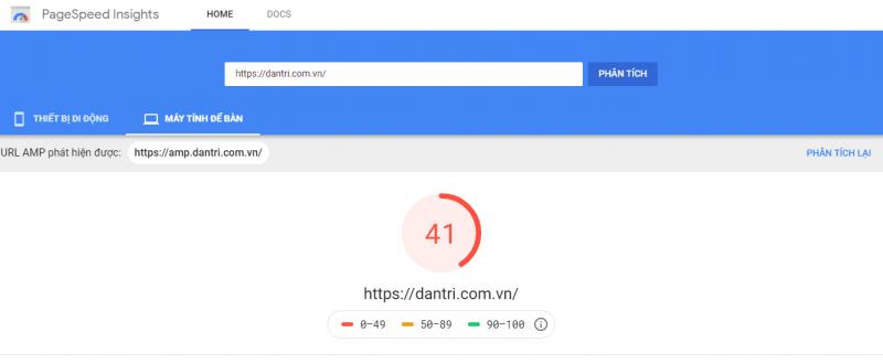 Sử dụng Pagespeed Insights để đo tốc độ trang báo Dantri