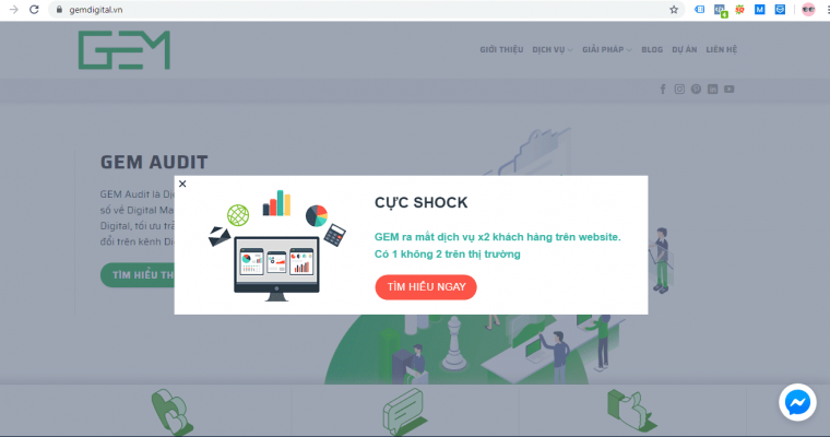 Trên website của GEM có cài đặt pop-up điều hướng người truy cập đi tới trang đích là một trang dịch vụ