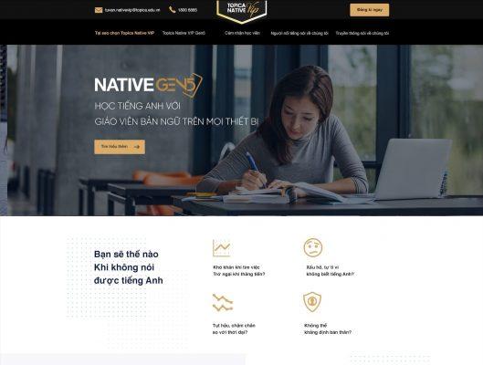 Ví dụ hình ảnh landing page của Topica Native