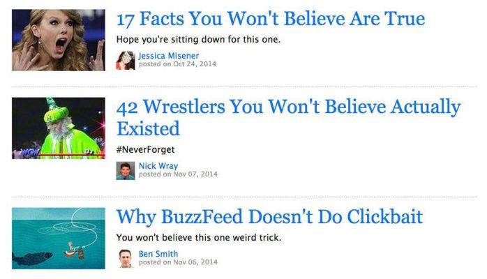 Ví dụ clickbate trên một website