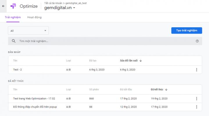Giao diện phần mềm AB Testing của Google